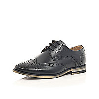 Boys black smart brogues