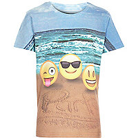 Boys white beach emoji party t-shirt