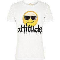 Boys white emoji attitude print t-shirt