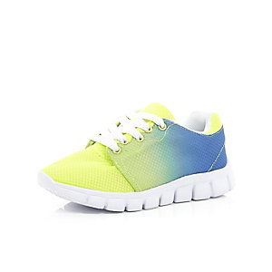 Boys blue fluro faded runner trainers