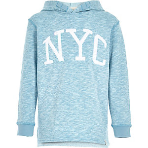 Boys blue NYC print hoodie
