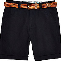 Boys navy belted Oxford shorts