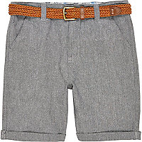 Boys grey belted Oxford shorts