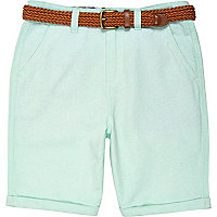 Boys mint green belted Oxford shorts