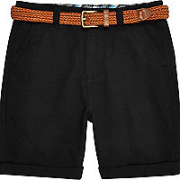 Boys black belted Oxford shorts