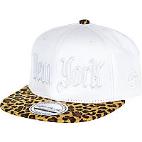 Boys white New York leopard print cap