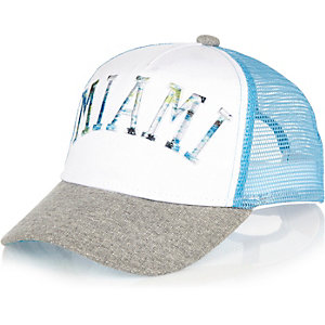 Boys white Miami print trucker cap