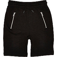 Boys black casual zip pocket shorts