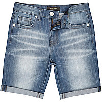 Boys light wash denim shorts
