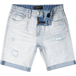 Boys bleached denim ripped shorts