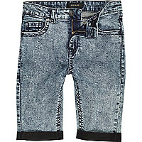 Boys skinny acid wash denim shorts