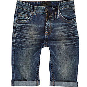 Boys washed denim skinny shorts