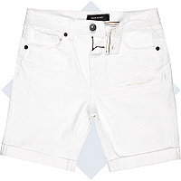 Boys white distressed denim shorts