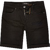 Boys black distressed denim shorts