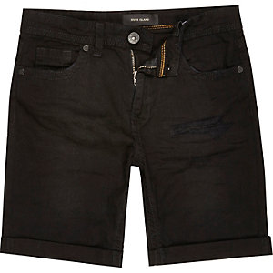 Boys black distressed denim shorts