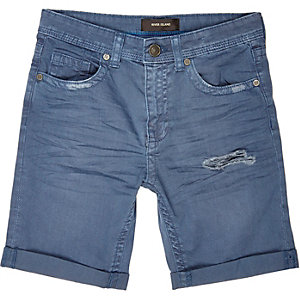 Boys blue distressed denim shorts