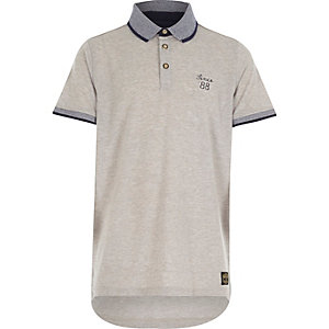 Boys grey contrast collar polo shirt