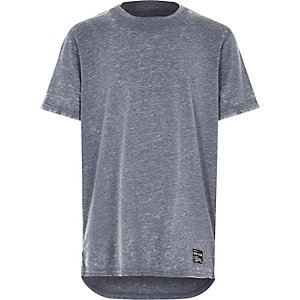Boys blue marl crew neck t-shirt