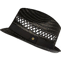 Boys black straw trilby hat