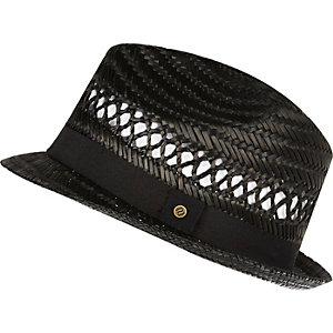 Boys black straw trilby hat