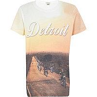Boys yellow Detroit motorcycle t-shirt
