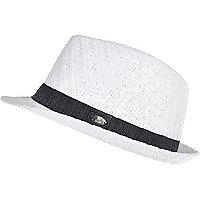 Boys white woven trilby hat