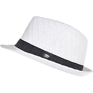 Boys white woven trilby hat