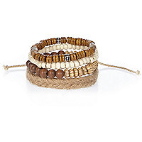 Boys brown bracelet set