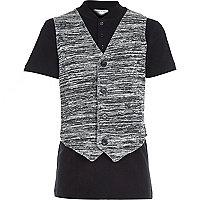 Boys black waistcoat and polo top set
