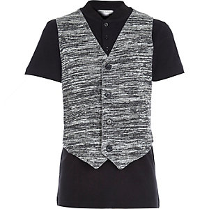 Boys black waistcoat and polo top set