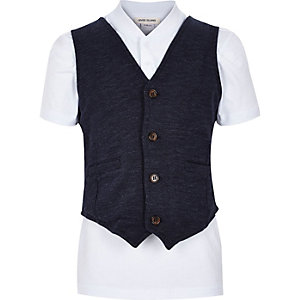 Boys navy baseball t-shirt and waistcoat set