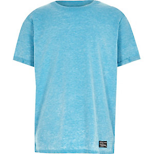 Boys bright blue plain short sleeve t-shirt