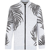 Boys grey palm tree print bomber jacket