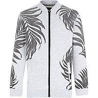 Boys grey palm tree print bomber jacket