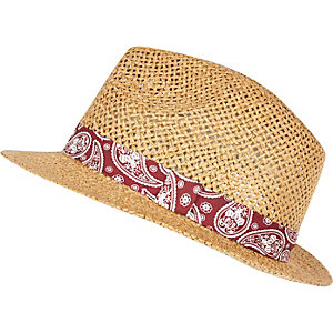 Boys brown straw trilby hat