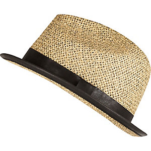 Boys brown straw trim trilby hat