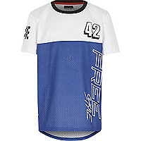 Boys blue sporty mesh t-shirt