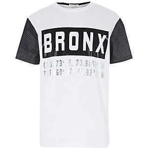 Boys white mesh Bronx sporty t-shirt