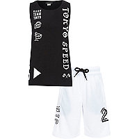 Boys black Tokyo print vest and short outfit