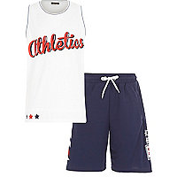 Boys athletic mesh vest and shorts outfit