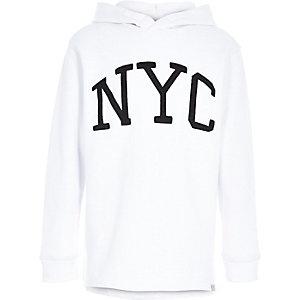 Boys white NYC print hoodie