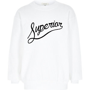 Boys white superior flocked print sweatshirt