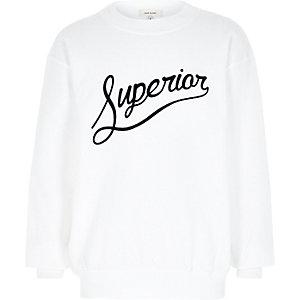 Boys white superior flocked print sweatshirt