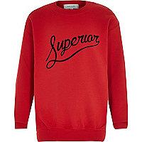 Boys red superior print sweatshirt