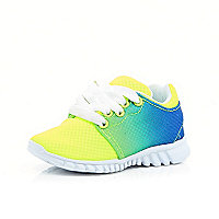 Mini boys green fluro runner trainers