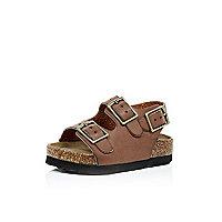 Mini - Braune flache Sandalen mit Doppelriemen