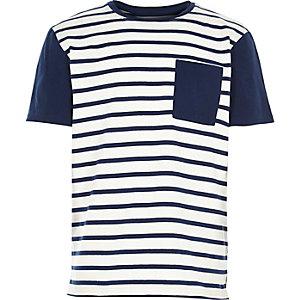 Boys white breton stripe short sleeve t-shirt