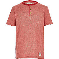 Boys red short sleeve henley top