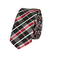 Boys dark red check tie