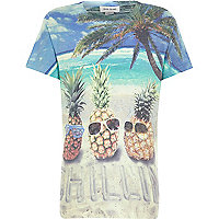 Boys white pineapple chilling print t-shirt